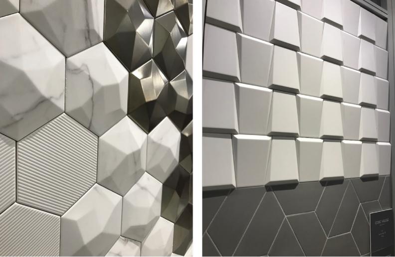 2018 tile trends seen at TISE - 3 Dimensional tile from Emser Tile