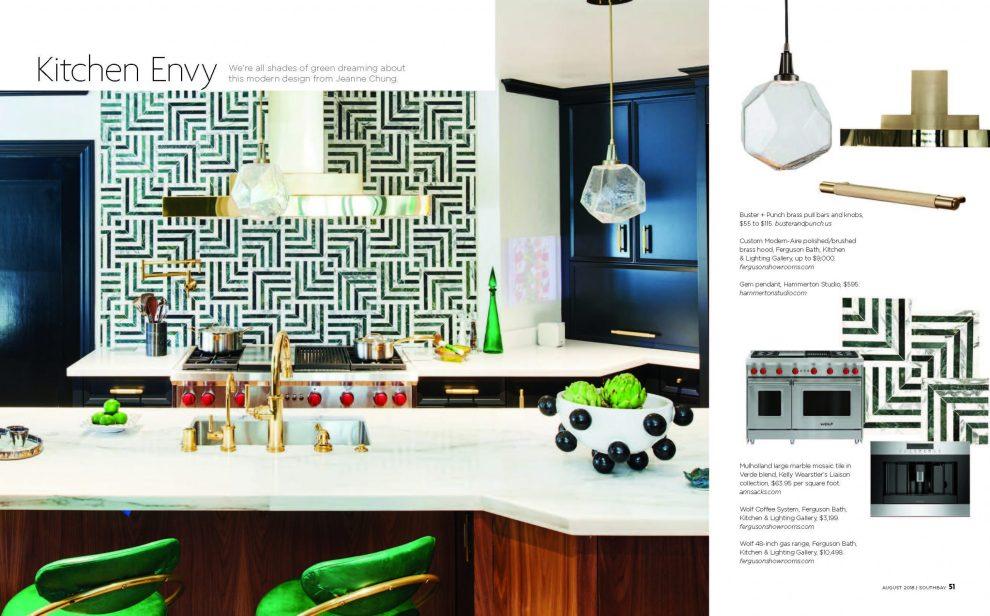 Cozy Stylish Chic 2018 Pasadena Showcase House Kitchen -Southbay Magazine, August 2018