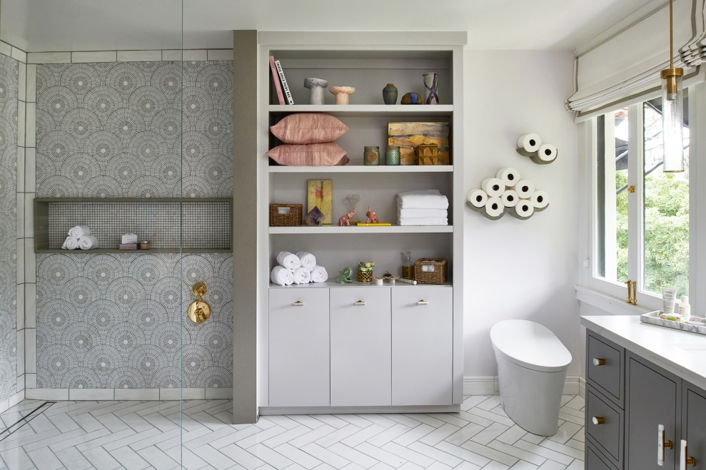 teen bathroom ideas with white marble mosaic shower and herringbone floor