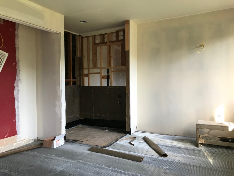 Construction of the Cozy Stylish Chic teen bathroom for the 2018 Pasadena Showcase House