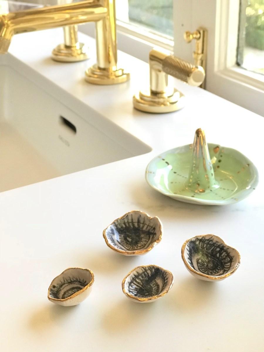 Brass plumbing and calacatta gold countertop-luxury bathroom Altadena CA