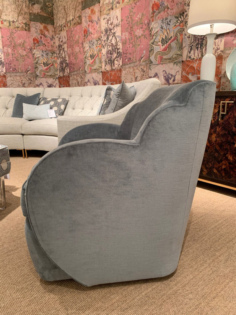 Grey Swivel lounge chair at Highpoint Market