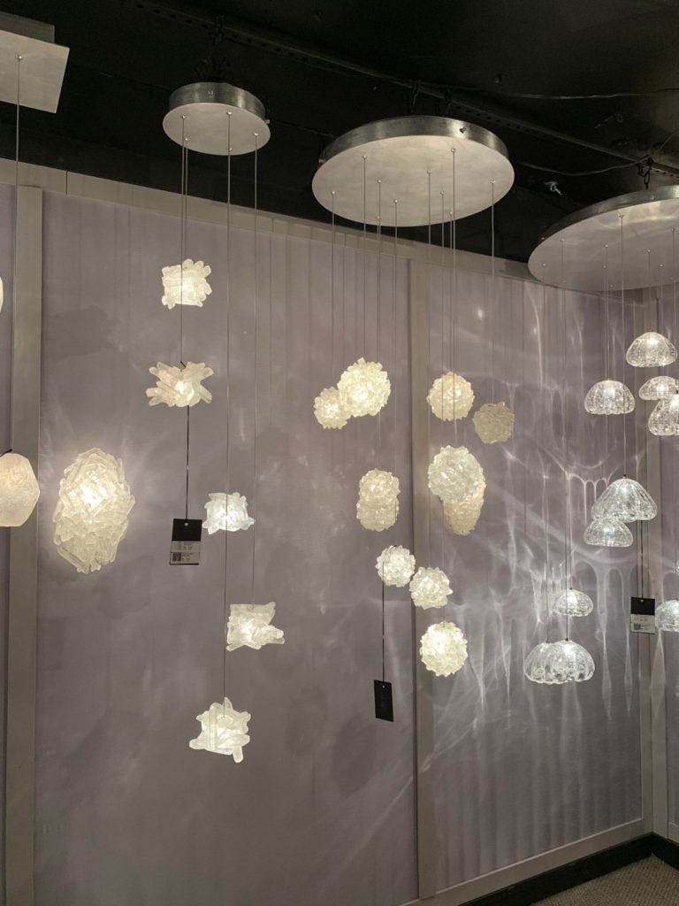 Hanging crystalline lights Spring 2019 Design Trends - High Point Market