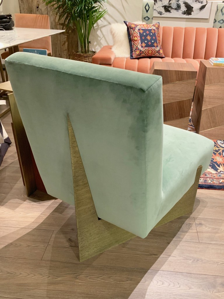 Mint green lounge chair at Highpoint Market