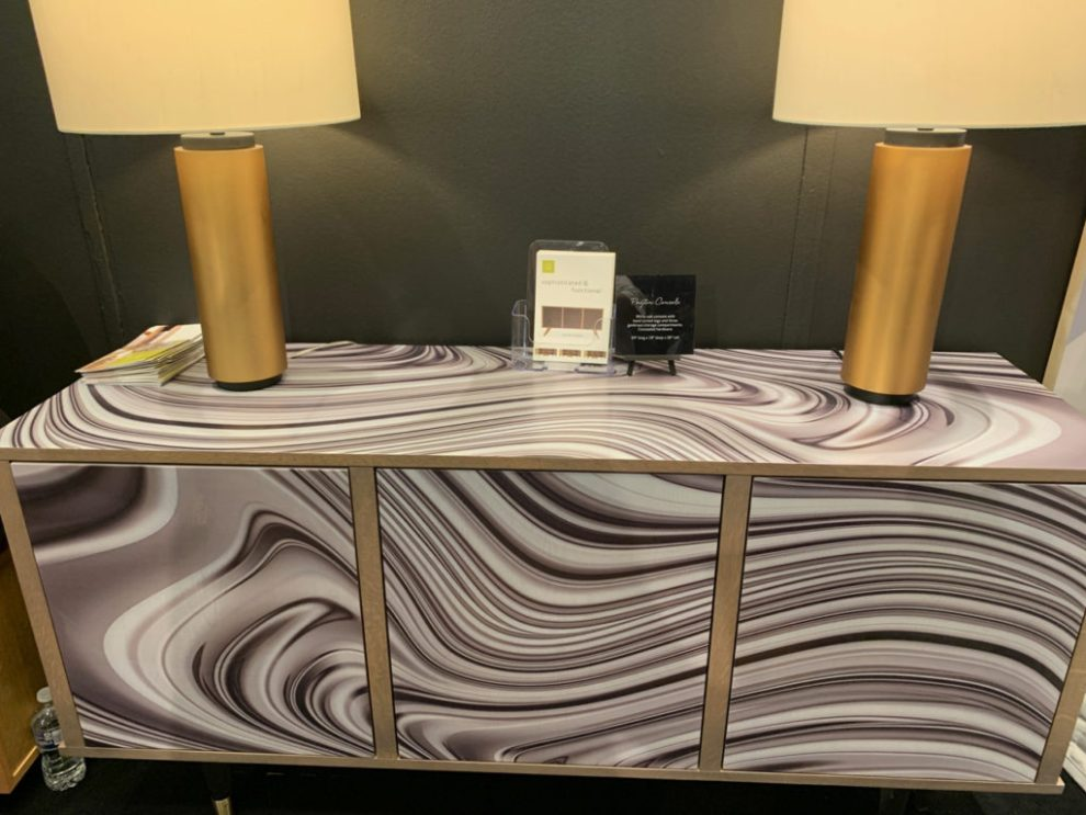 Design Trends - wavy digital printing on cabinet at Highpoint Market