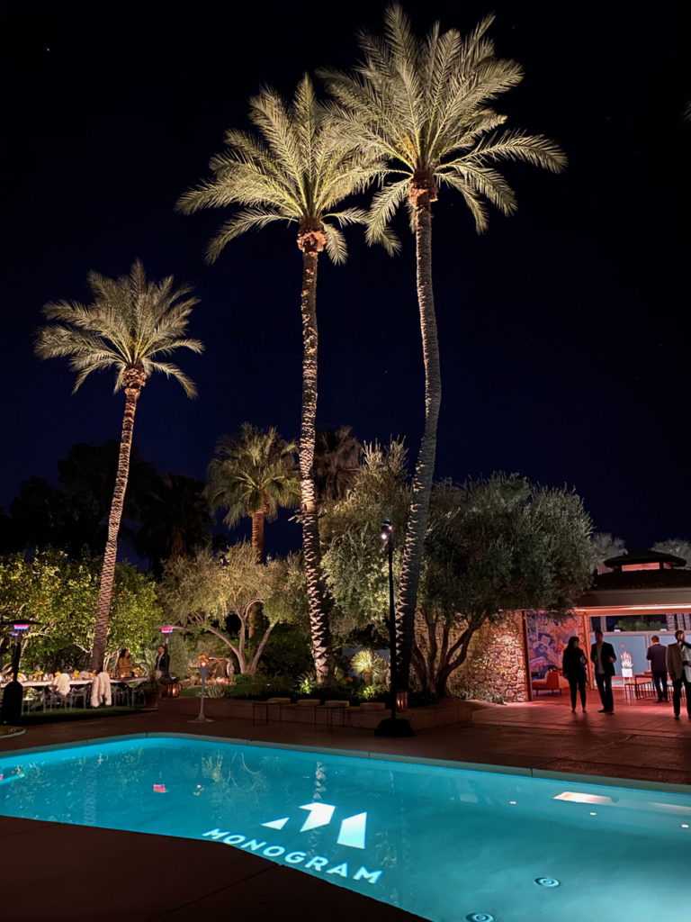 The Kirk Douglas Estate pool at night - Palm Springs
