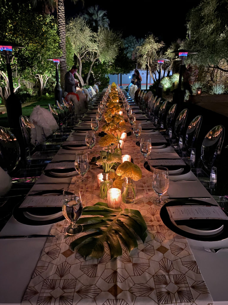 Outdoor dinner table with Monogram Appliances at the Kirk Douglas Estate in Palm Springs during Modernism Week 2020