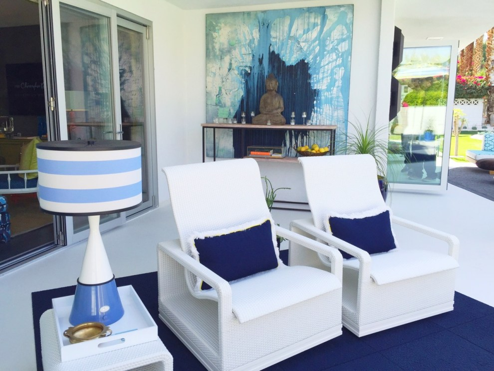 Indoor outdoor living space with cordless lighting in Palm Springs