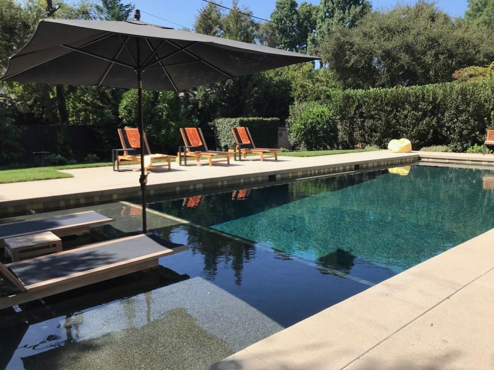 South Pasadena pool with baja shelf and pool umbrella