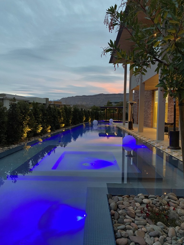Las Vegas, NV swimming pool with blue LED lighting - Chowa House