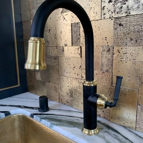 Newport Brass matte black and brass faucet
