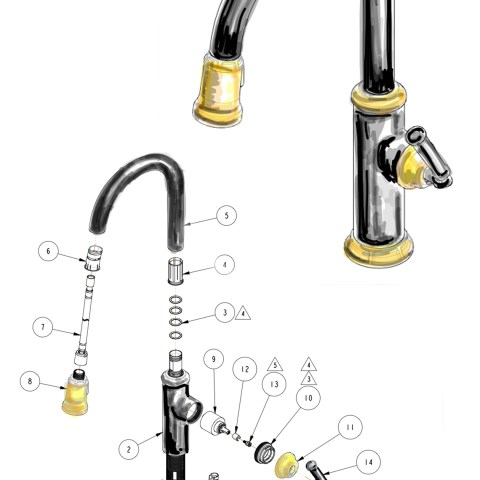 black and brass kitchen faucet