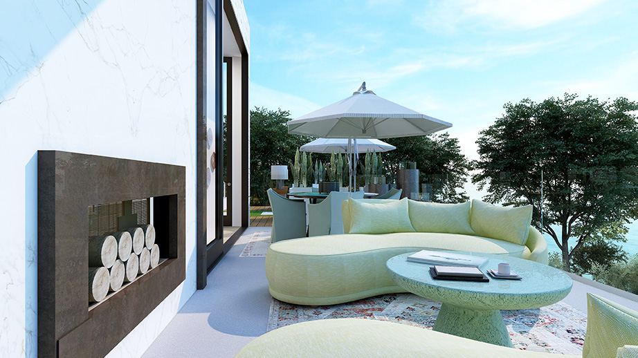 Outdoor terrace overlooking the Pacific Ocean designed by Pasadena interior designer Jeanne K Chung   Cozy Stylish Chic