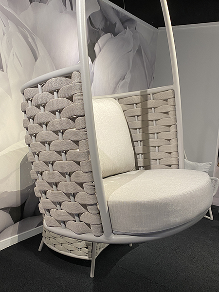 outdoor swing and large open textures - High Point Market spring 2021
