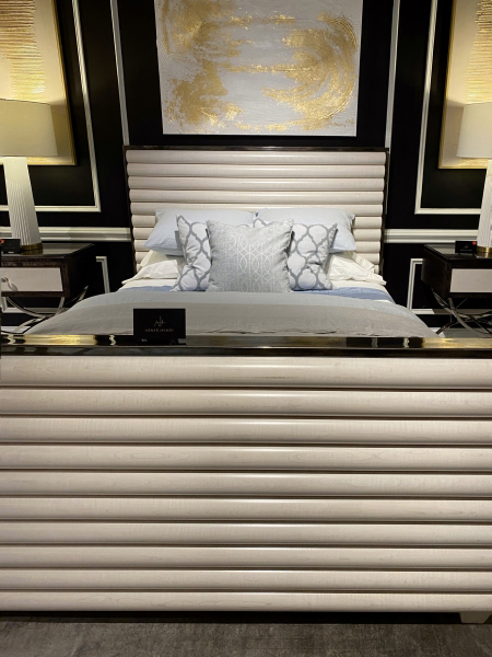 Exaggerated reeded panel bed-High Point Market furniture trends 2021