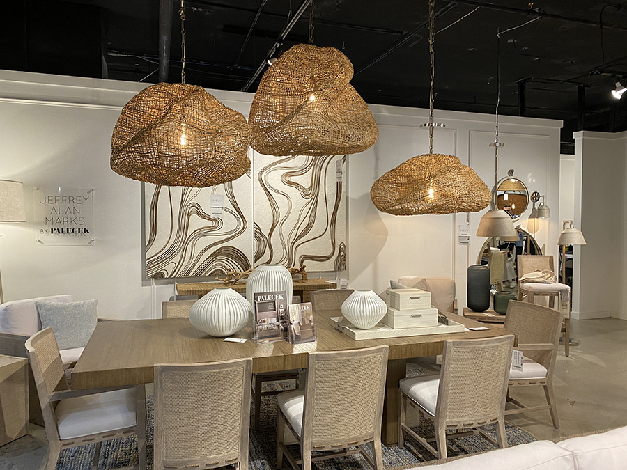 wicker light pendants with natural wood and rattan dining set - High POint Market trends 2021