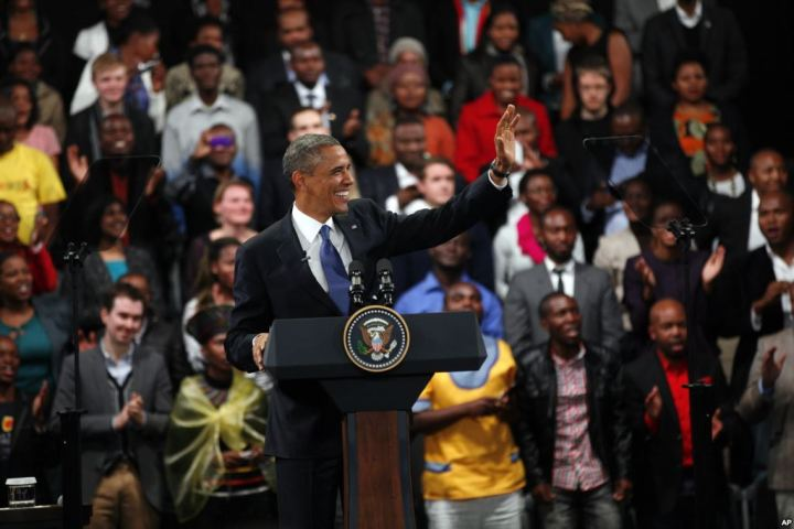 U.S. President Barack Obama delivers remarks and takes questions at a town hall meeting with young African leaders at the University of Johannesburg Soweto campus, South Africa, June 29, 2013.