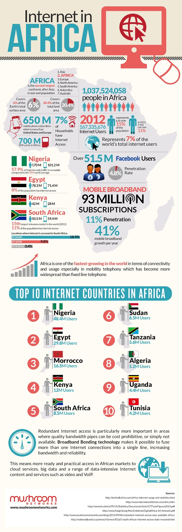 internet usage in africa infographic