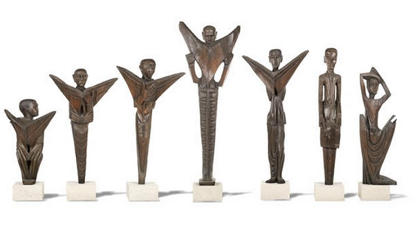Seven Wooden Sculputures
