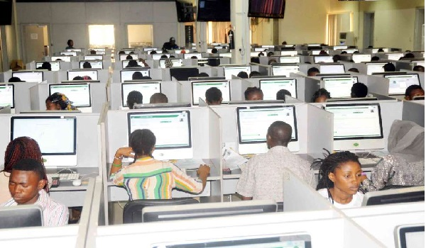 JAMB CBT currently being taken by some students.