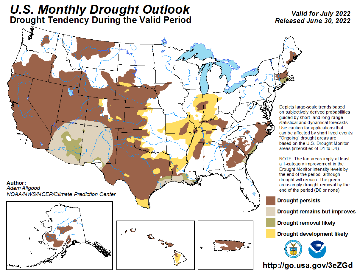 U.S. Monthly Drought Outlook Map