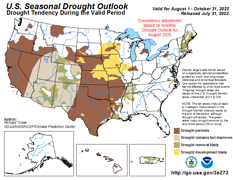 U.S. Seasonal Drought Outlook Map