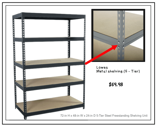 Music room storage shelving
