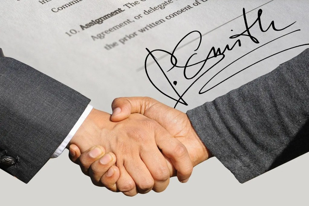 business contract, binding contract, contract agreed upon by both parties