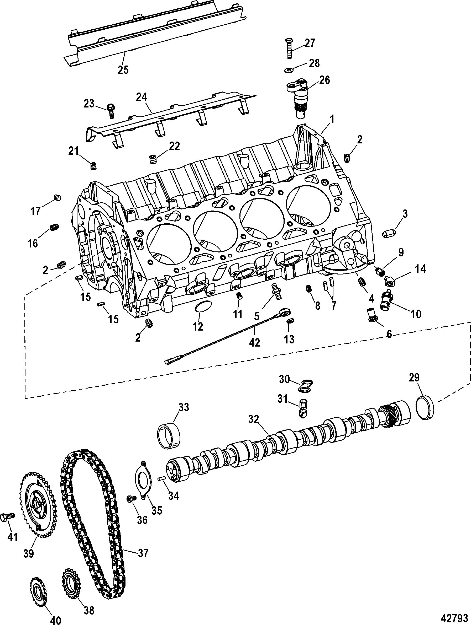 S 8223 cylinder block and camshaft