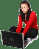 Girl learning CPR online