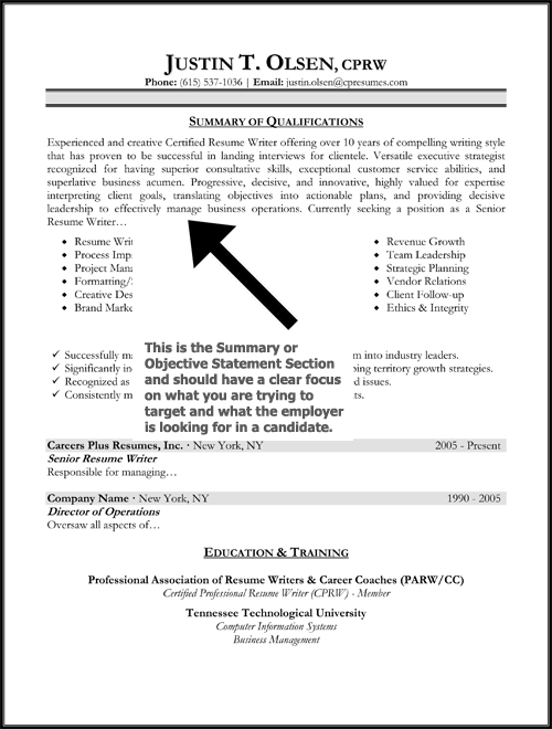 a - Profile Or Objective On Resume