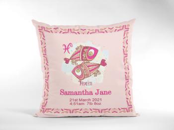 Baby Birth Cushion With Border Pink