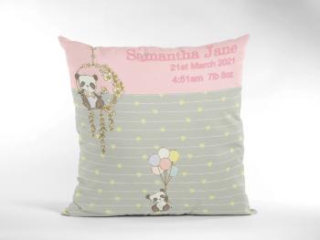 Baby Birth Cushion Cute Panda Pink