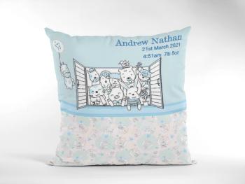 Baby Birth Cushion Cute Animals In Window Blue