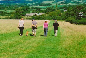 Walkers on a conducted farm tour