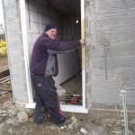 Putting in the disabled toilet doorway