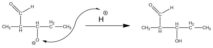aldol condensation of propanal, aldol addition product, reaction mechanism