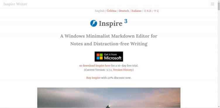 Screenshot of Inspire 3 homepage - tool for distraction-free writing projects