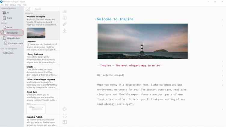 Screenshot of Inspire 3 - tool for distraction-free writing projects