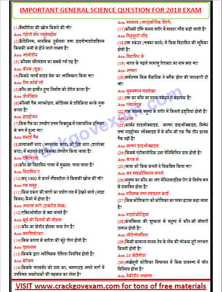 General Science in Hindi Pdf Objective Questions download free