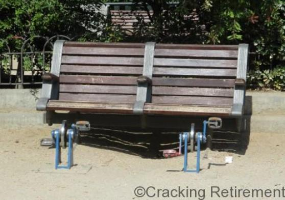 Cracking Retirement Park bench with pedals