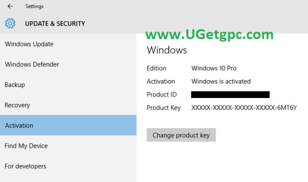 Windows 10 Pro -setting-UGetpc