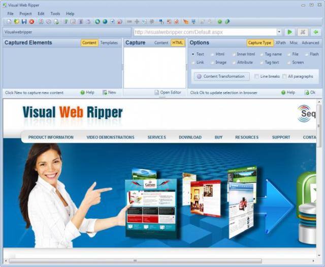 Visual Web Ripper windows