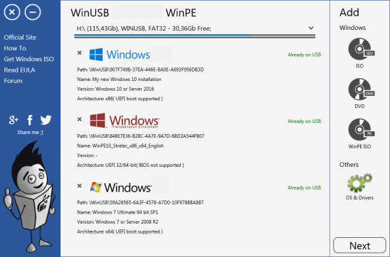 WinUSB windows