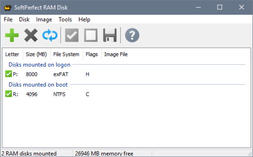 SoftPerfect RAM Disk windows