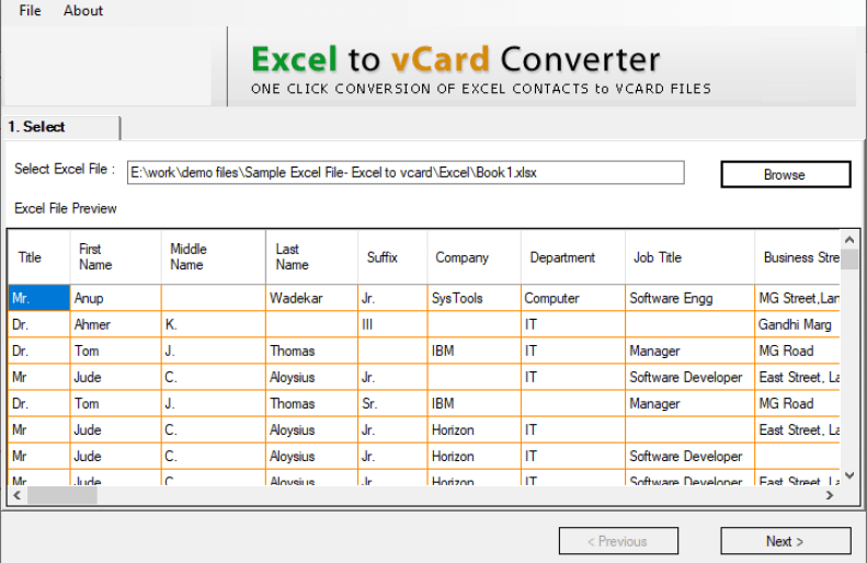 Excel to vCard Converter latest version