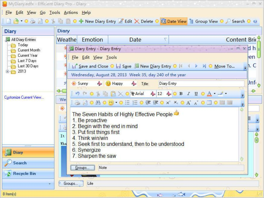 Efficient Diary Pro latest version