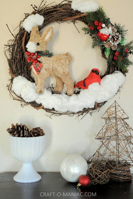 DIY Winter Woodland Christmas Wreath Craft O Maniac