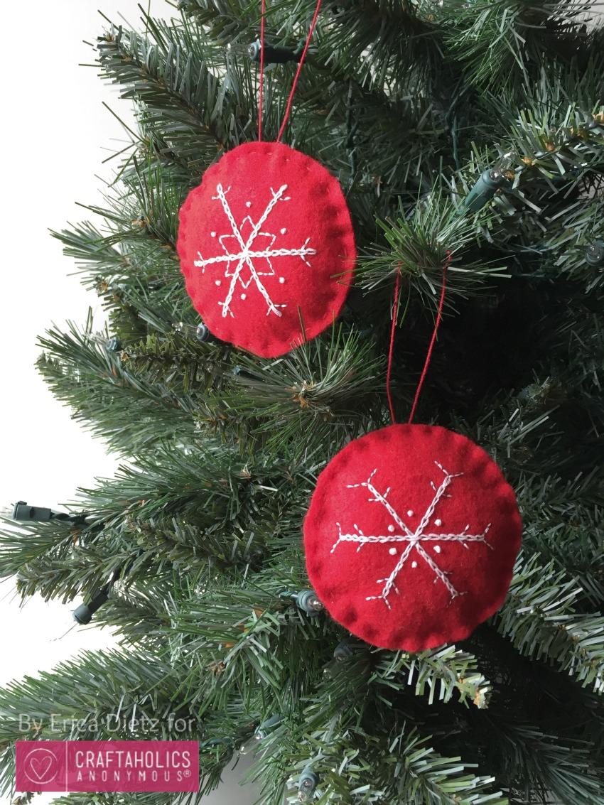 Craftaholics Anonymous Embroidered Felt Snowflake Ornaments