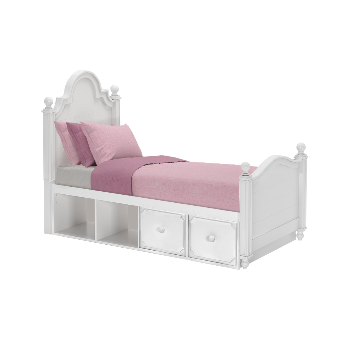 Sydney Twin White Storage Bed Captains Drawers Cubbies